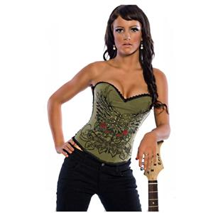 Magic Printed Rhinestone Corset Dark green, Corset , Magic Printed Rhinestone Corset, #N4342