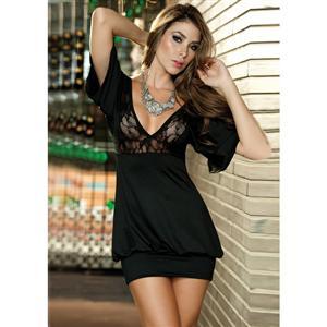 Lovely In Lace Mini Dress, Lace Top Dress, Black Dress, #N1486
