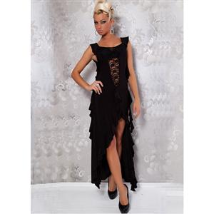 Ruffled Illusion Dress, Lace Front Dress, See Through Dress, #N1398
