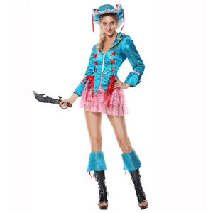 Piratess Costume, Sexy Pirate Captain Costume, Passion Pirate Costume, Blue Sequins Color Pirate Costume, Adult Pantomine Pirate Costume,Pink Lace Skirt Prate Costume#P1521