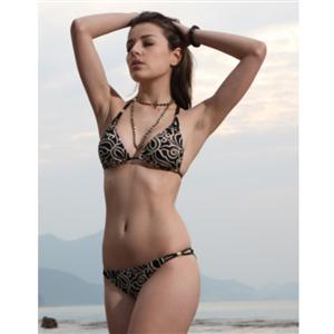 Womens swimsuit, swimsuits for women, china wholesale, Wireless push-up halter top, shown with scoop bottom, Women