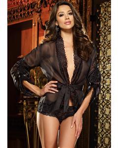 Sleep Shirt and Short Set, Black Mesh Pajama Shirt, #M1165
