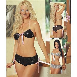 Sexy Bra Sets, Womens Lingerie Sets, Sequins Lingerie On Line, 2 Piece Sheer Mesh Underwear, Halter Sexy Black Bra Set, #N1144
