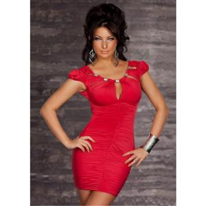 red dress, Valentines Dress, Cut out top Scrunched Dress, #N4159