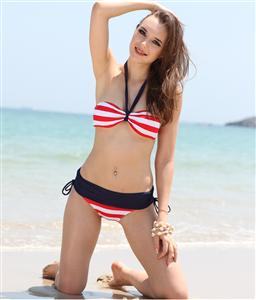 Nautical Striped Bandeau Bikini, Bikini Set, Hot Bikinis, #BK1131
