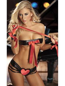 Vinyl Top and Panty Set, Vinyl Top and Panty Set Black, Black Top and Panty Set, #N1654