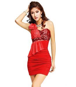 Bow Tie Sequin Dress, Beam Waist Packet Buttock Stylish Dress, Ruffle One Shoulder Bowknot Dress,  Christmas Dress, #N6849