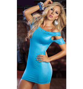 Open Shoulder Club Dress, teal club dress, sexy tight mini dress, #N4123