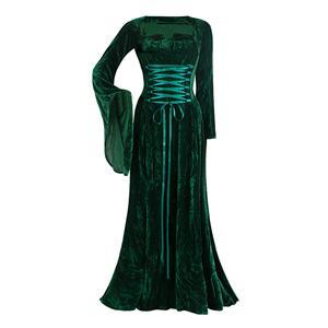 velvet Teal medieval sleeves dress, medieval sleeves dress, velvet medieval sleeves dress, #N5759
