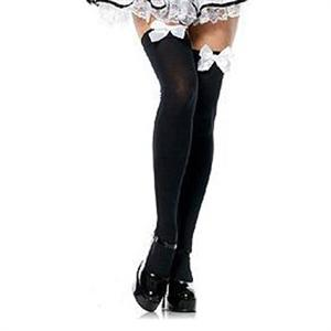white Bow Thigh High Costume Stockings, Sexy Stockings, sexy lingerie wholesale, Stockings wholesale, #HG4025