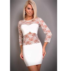 White Clubwear Dress in Lycra and Lace, White lace minidress, lace minidress, #C5839