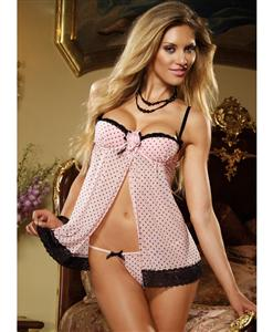 Pink Dot Babydoll And Thong, Pale Pink Babydoll Lingerie, underwire cups Babydoll, #N4347