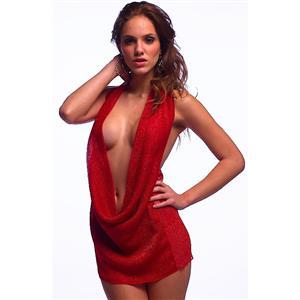 Sexy Mini Dress, Red Mini Dresses, Sexy Women Clothes, Plunging Neckline Mini Dress, Red Halter Mini Dress, #M850