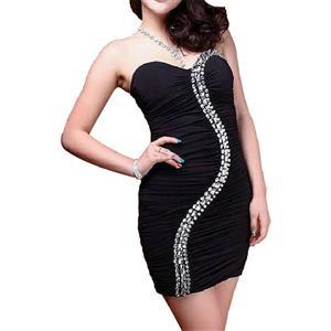 Strapless Dress, Rhinestone Dress, Black Dress, #N6504