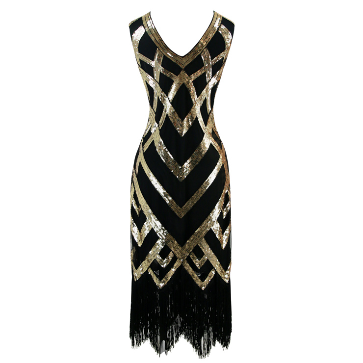 93be776a087c Women s Vintage 1920s V Neck Sleeveless Sequin Art Deco Cocktail ...