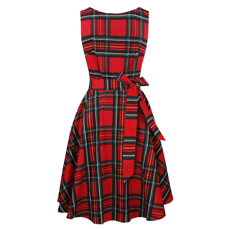 1950's Vintage Red Plaid Belted Round Neck Sleeveless A-Line Dress N20017