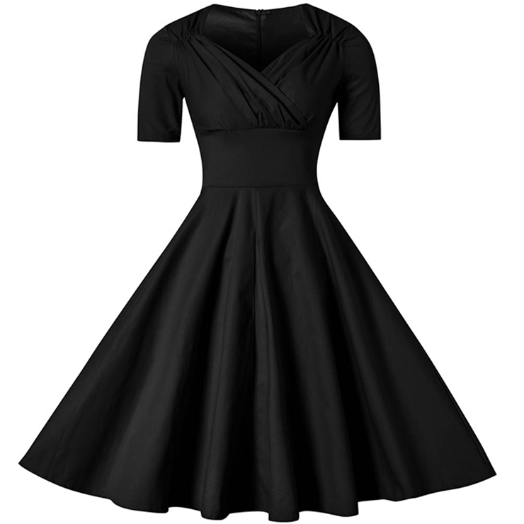 Elegant 1950's Vintage Pure Black Short Sleeve Casual Cocktail ...