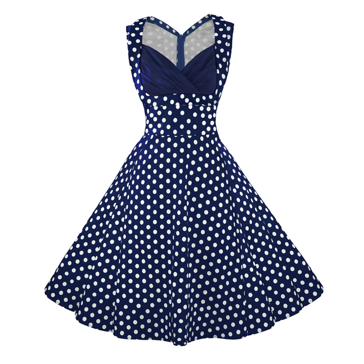 Women's 1950's Vintage Blue Polka Dot Cut Out V-Neck Casual Party Cocktail Dress N11094