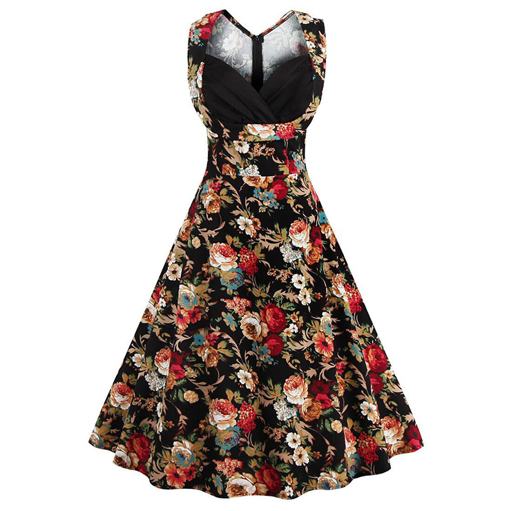 Women's 1950's Vintage Floral Cut Out V-Neck Casual Party Cocktail Dress N11396