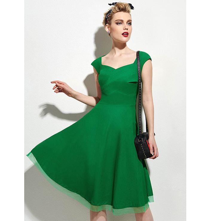 a3e02d07e33d Women s 1950 s Vintage Green Square Neck Cap Sleeve Party Cocktail Swing  Tea Dress N16358