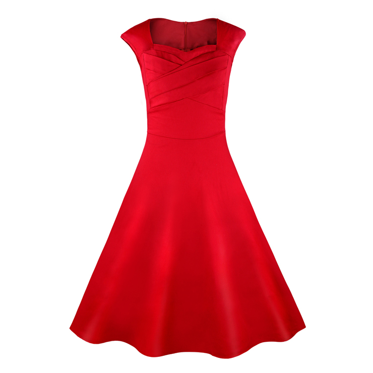 3664ec396075 1950's Vintage Retro Red Cotton Party Cocktail Swing Dress N11072