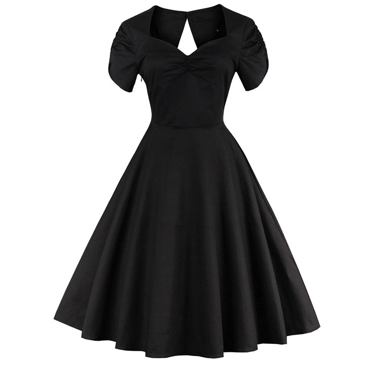 Elegant 1960's Vintage Black Cocktail Party Dress N12815