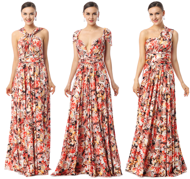 2017 Changeable A-line Natural Waist Floral Knit Floor-Length Evening Dress F30001