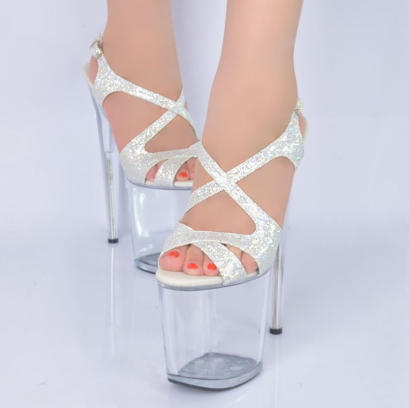 Cross Straps Stiletto Sandals, Clear Platform High Heels, Silver Glitter High-Heeled Sandals, #SWS20071