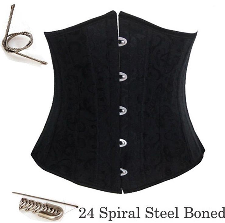 Waist Cincher Corset Body Shaper Girdle, Steel Bone Waist Training Corset, 24 Spiral Steel Boned Brocade Corset, #N8268