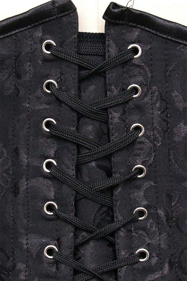 Jacquard Weave Double Boned Overbust Corset, Black Steel Bones Corset, Hourglass Torso Shaper Corset, Plus Size Corset, #N9892