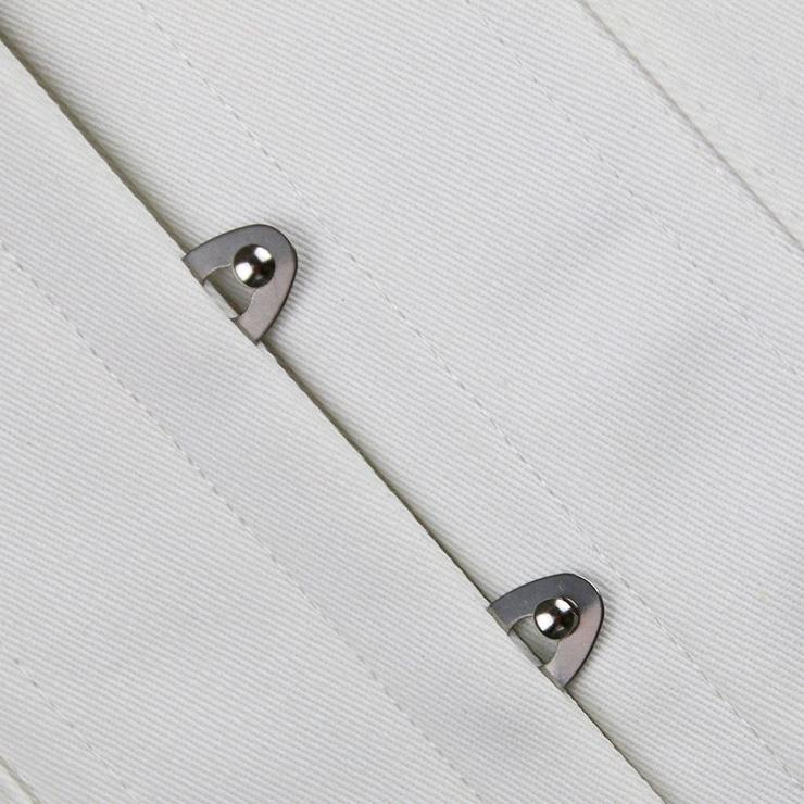 Cotton Double Boned Overbust Corset, White Steel Bones Corset, Hourglass Torso Shaper Corset, #N8852
