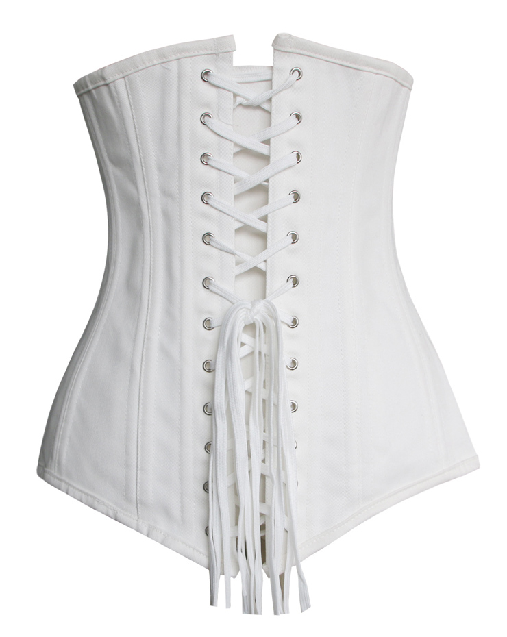Cotton Double Boned Underbust Corset, White 26 Steel Bones Corset, Hourglass Torso Shaper Corset, #N10803
