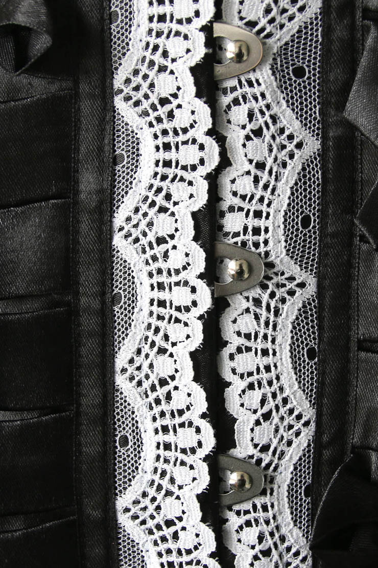 Pleated Lace Trimming Corset, Pleated Lace Corset, Black UnderBust Corset, #N4673