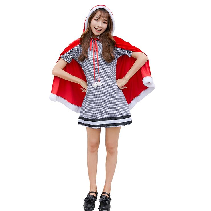 2pcs Women's Cute Short Sleeve Mini Plaid Skirt and Red Velvet Hooded Shawl Christmas Costume N19474