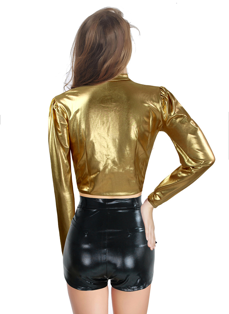 2pcs set gold top black shorts, faux leather bandage bodycon dress, sexy party clubwear cocktail, #N8579