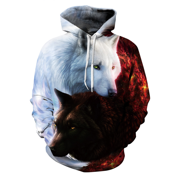 Unisex All-match 3D Digital Realistic Wolf Printed Long Sleeve Pullover Hoodie N15769