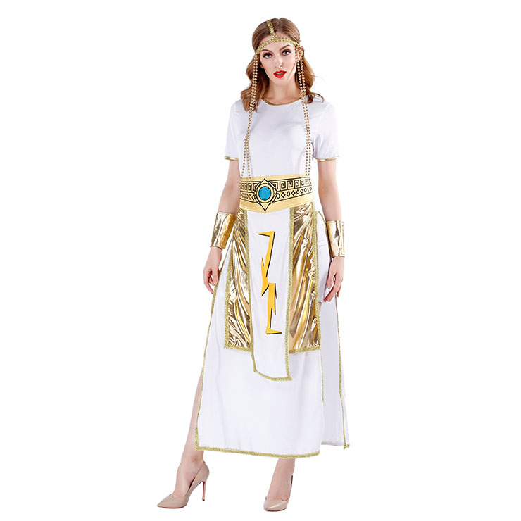 4pcs Women's White And Golden Short Sleeve Heroine Cosplay Costume With Apron N19460