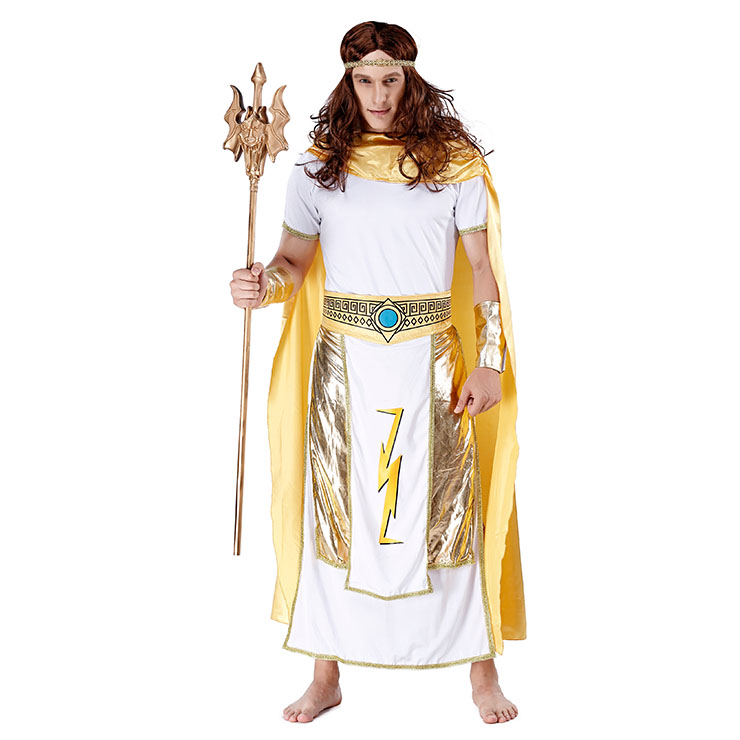 4pcs Men's White And Golden Short Sleeve Heroine Cosplay Costume With Apron N19461