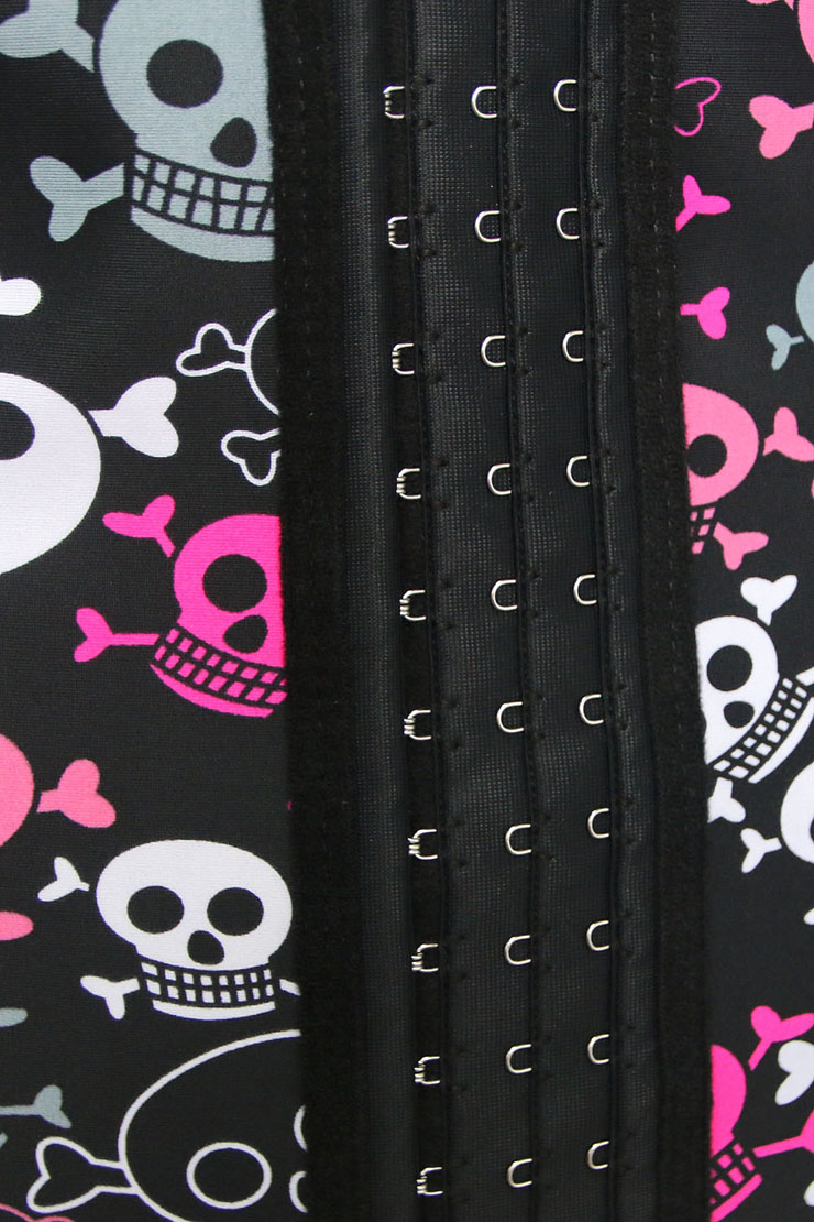 390a8f8294 9 Steels Crazy Sexy Skulls Print Waist Training Cincher Halloween Corset  N10635