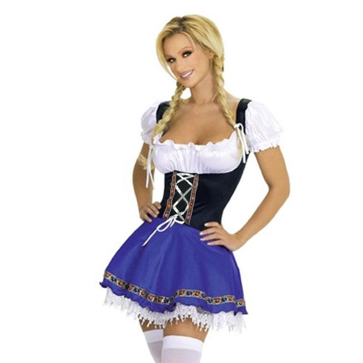 Traditional Off-shoulder Bavarian Beer Girl Mini Dress Adult Oktoberfest Serving Costume N21042