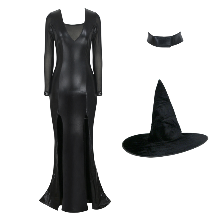 Black Vintage Witch Costume, Vintage Witch Halloween Party Dress, Sexy Black Witch Costume, Liquid Black Witch Womens Costume, #N17940