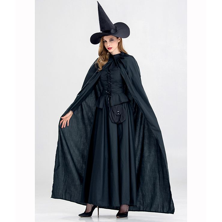 Womens Adult Black Witch Sorceress Magic Halloween Costume N14983