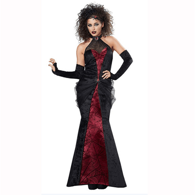 Gothic Women's Adult Black Widow Vampiress Halloween Costume N14979