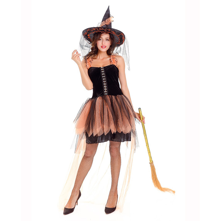 Black Vintage Witch Costume Halloween Party Dress Sexy