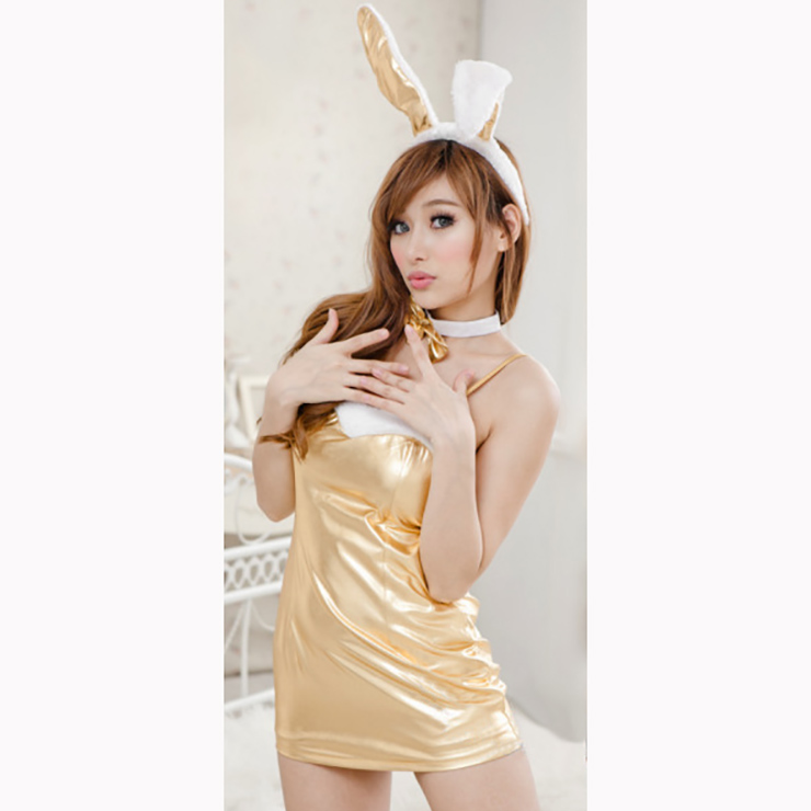 Sexy Adult Bunny Girl Costume, Sexy Gold Spaghetti Strap Nightdress, Faux  Leather Lingerie Nightdress