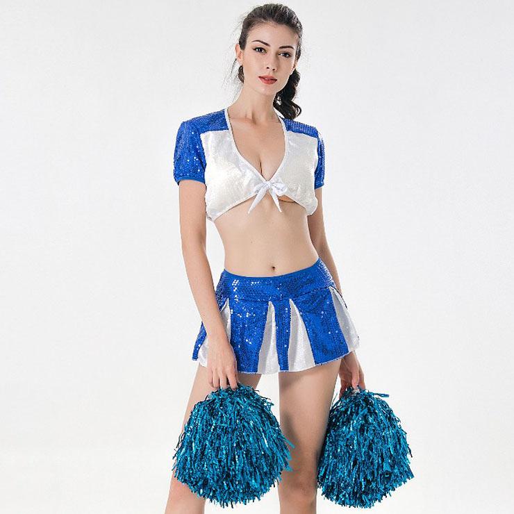 Sexy Adult Cheerleader Costume Short Sleeve Sequin Crop Top Mini Skirt Set N17417
