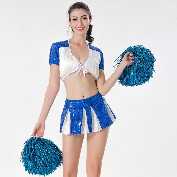 Sexy Adult Cheerleader Costume, Short Sleeve Crop Top Skirt Set, Sequin Crop Top Mini Skirt Set, Sexy Cheerleader Mini Skirt Set, Fashion Short Sleeve Cheerleader Costume, Sequin Cheerleaders Costume, #N17417
