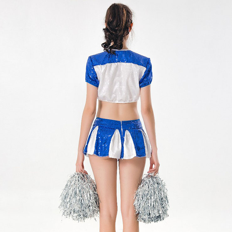 Sexy Adult Cheerleader Costume, Short Sleeve Crop Top Skirt Set, Sequin Crop Top Mini Skirt Set, Sexy Cheerleader Mini Skirt Set, Fashion Short Sleeve Cheerleader Costume, Sequin Cheerleaders Costume, #N17417