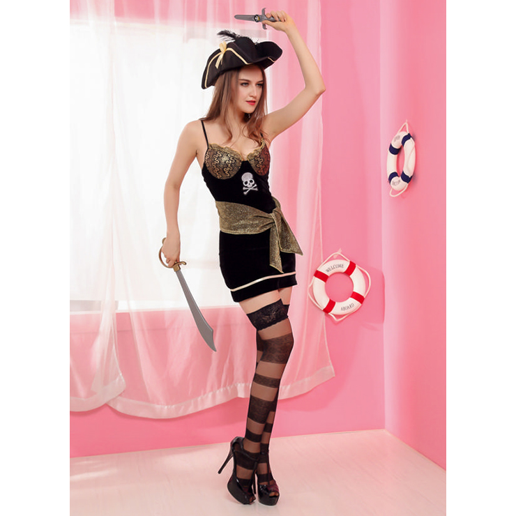 Sexy Pirate Costume, Deluxe Halloween Costume, Pirates Fancy Dress Costume, Cheap Evil Women