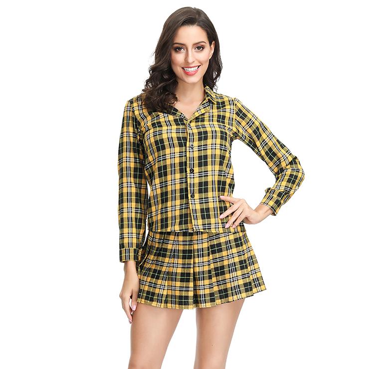 Hot Adult School Girl Cosplay Costume Lapel Check Shirt Plaid Pleated Mini Skirt Set N19122